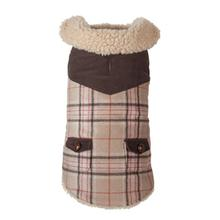 Wool Plaid Shearling Dog Jacket - Camel