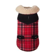 Wool Plaid Shearling Dog Jacket - Red
