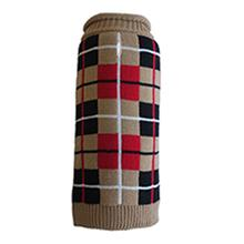 Worthy Dog Oxford Plaid Dog Sweater - Tan