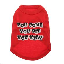 You Come, You Sit, You Stay Dog T-Shirt - Red