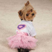 Zack & Zoey Chiffon Hearts Dog T-Shirt and Skirt Set