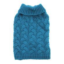 Zack and Zoey Elements Chunky Cable-Knit Dog Sweater - Teal Blue