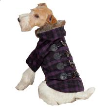 Fur Tipped Toggle Dog Coat - Purple