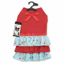 Zack and Zoey Happy Veggies Ruffle Dog Dress - Red