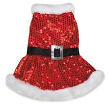 Mrs. Claus Sequin Dog Dress