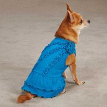 Zack & Zoey Rosette Ruffle Dog Dress - Bluebird