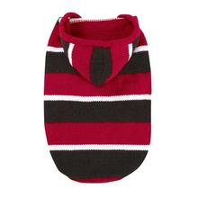 Striped Knit Dog Hoodie - Tomato Red