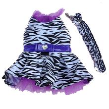 Zebra Harness Dog Dress and Leash - Purple