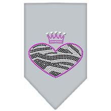 Zebra Heart Rhinestone Dog Bandana - Gray