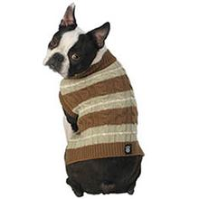 Ziggy's Striped Dog Sweater - Brown/Sage