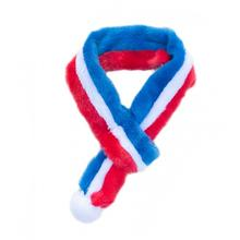 ZippyPaws Fuzzy Holiday Dog Scarf - Red, White and Blue